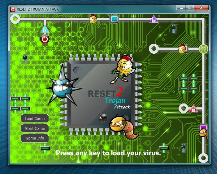 Classic Maze puzzle videogame Reset 2 Trojan Attack